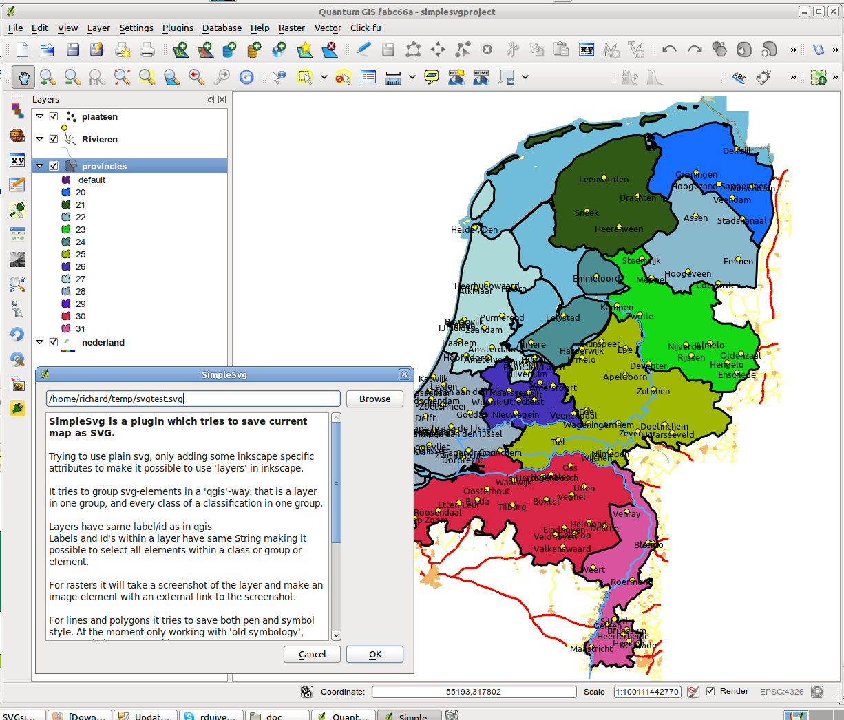 Qgissvgg a view of the netherlands in qgis with a point polygon and line vector layer and a raster on the bottom gumiabroncs Gallery
